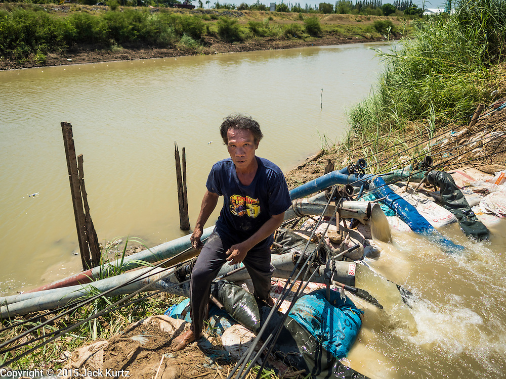 01 JULY 2015 - PA TAN, LOPBURI, THAILAND: Rice farmers in Lopburi province pump water for their rice out of an irrigation canal. Normally the canal is so full the water flows into their small canal without pumps. One farmer said nobody in their community could remember the canal ever being this low. Central Thailand is contending with drought. By one estimate, about 80 percent of Thailand's agricultural land is in drought like conditions and farmers have been told to stop planting new acreage of rice, the area's principal cash crop. Water in reservoirs are below 10 percent of their capacity, a record low. Water in some reservoirs is so low, water no longer flows through the slipways and instead has to be pumped out of the reservoir into irrigation canals. Farmers who have planted their rice crops are pumping water out of the irrigation canals in effort to save their crops. Homes have collapsed in some communities on the Chao Phraya River, the main water source for central Thailand, because water levels are so low the now exposed embankment is collapsing. This is normally the start of the rainy season, but so far there hasn't been any significant rain.     PHOTO BY JACK KURTZ