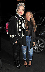 Rita Ora and Chloe Green arriving at The Dorchester Hotel after dining at the Novikov restaurant in Mayfair, London, UK. 02/04/2014<br />