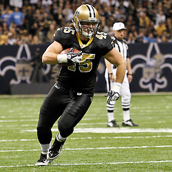 January 7, 2012; New Orleans, LA, USA; New Orleans Saints fullback Jed Collins (45) against the Detroit Lions during the 2011 NFC wild card playoff game at the Mercedes-Benz Superdome. Mandatory Credit: Derick E. Hingle-US PRESSWIRE