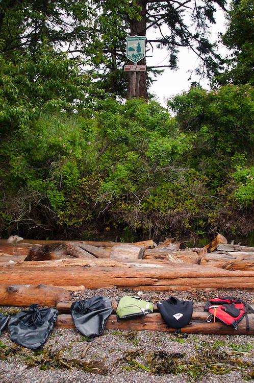 Spray Skirts and Sign, Jones Island, San Juan Islands, Washington, US