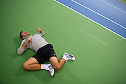 Michal Przysiezny of Poland warm up before training session four days before the BNP Paribas Davis Cup 2014 between Poland and Croatia at Torwar Hall in Warsaw on March 31, 2014.<br /> <br /> Poland, Warsaw, March 31, 2014<br /> <br /> Picture also available in RAW (NEF) or TIFF format on special request.<br /> <br /> For editorial use only. Any commercial or promotional use requires permission.<br /> <br /> Photo by &copy; Adam Nurkiewicz / Mediasport