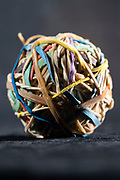 rubber string ball with bristle and broken strings