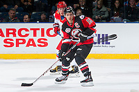 KELOWNA, CANADA - NOVEMBER 9: Brayden Point #19 of Team WHL looks for the pass against the Team Russia on November 9, 2015 during game 1 of the Canada Russia Super Series at Prospera Place in Kelowna, British Columbia, Canada.  (Photo by Marissa Baecker/Western Hockey League)  *** Local Caption *** Brayden Point;