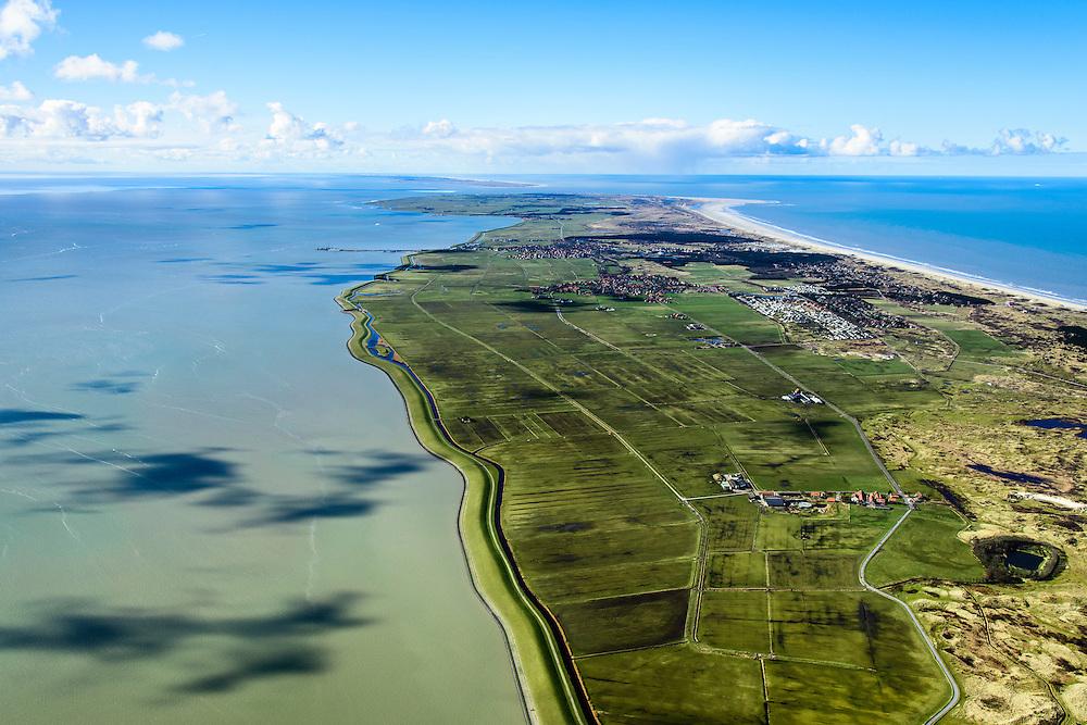Nederland, Friesland, Ameland, 28-02-2016; overzicht Ameland vanuit het oosten, met in de voorgrond Kooilanden en Pinkewad. Rechts de Kooiduinen met eendenkooi. Verder Buurdergrie (voormalig buitendijks gelegen land) en Polder Nes met de dorpen Buren en Nes.  Vlieland aan de horizon.<br /> Wadden island Ameland, Wadden sea. <br /> luchtfoto (toeslag op standard tarieven);<br /> aerial photo (additional fee required);<br /> copyright foto/photo Siebe Swart