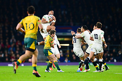 Joe Cokanasiga of England catches the ball - Mandatory by-line: Dougie Allward/JMP - 24/11/2018 - RUGBY - Twickenham Stadium - London, England - England v Australia - Quilter Internationals