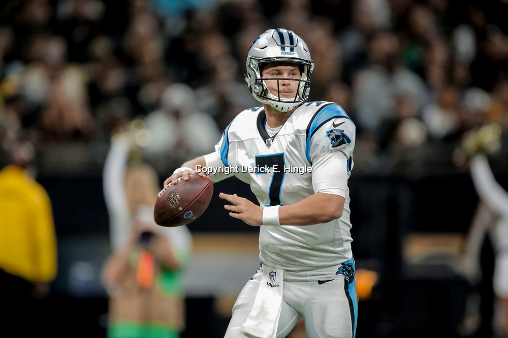 Dec 30, 2018; New Orleans, LA, USA; Carolina Panthers quarterback Kyle Allen (7) against the New Orleans Saints during the second half at the Mercedes-Benz Superdome. Mandatory Credit: Derick E. Hingle-USA TODAY Sports
