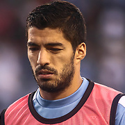 Uruguay Attacker LUIS SUAREZ (9) walks off the field at the end of the first half of a Copa America Centenario Group C match between Uruguay and Venezuela Thursday, June. 09, 2016 at Lincoln Financial Field in Philadelphia, PA.