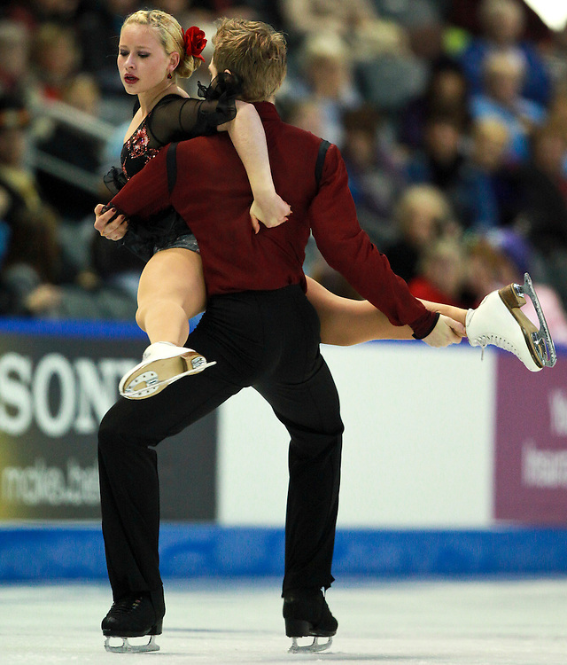 20101031 -- Kingston, Ontario -- Stefanie Frohberg and Tim Giesen of Germany skate their free dance at Skate Canada International in Kingston, Ontario, Canada, October 31, 2010. <br /> AFP PHOTO/Geoff Robins