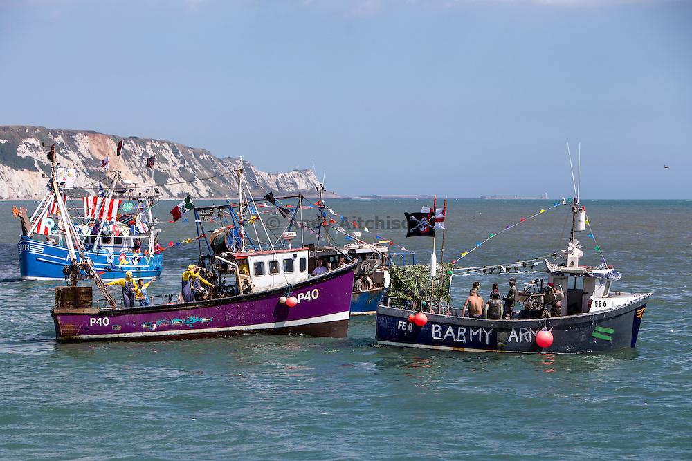 The 2016 Folkestone Trawler race. Folkestone Harbour, Kent.