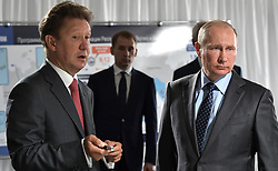 August 3, 2017 - Amur Region, Russia - August 3, 2017. - Russia, Amur Region. - Russian President Vladimir Putin and Gazprom Board Chairman Aleksey Miller (left) at the construction site of Amur Gas Processing Plant. (Credit Image: © Russian Look via ZUMA Wire)