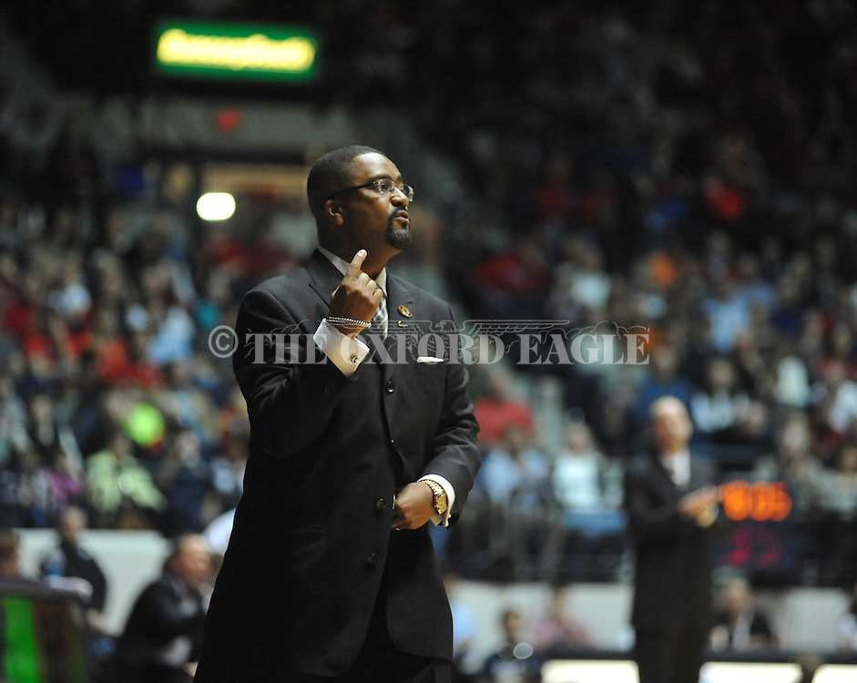 "Ole Miss vs. Missouri head coach Frank Haith at the C.M. ""Tad"" Smith Coliseum on Saturday, January 12, 2013. Ole Miss defeated #10 ranked Missouri 64-49."