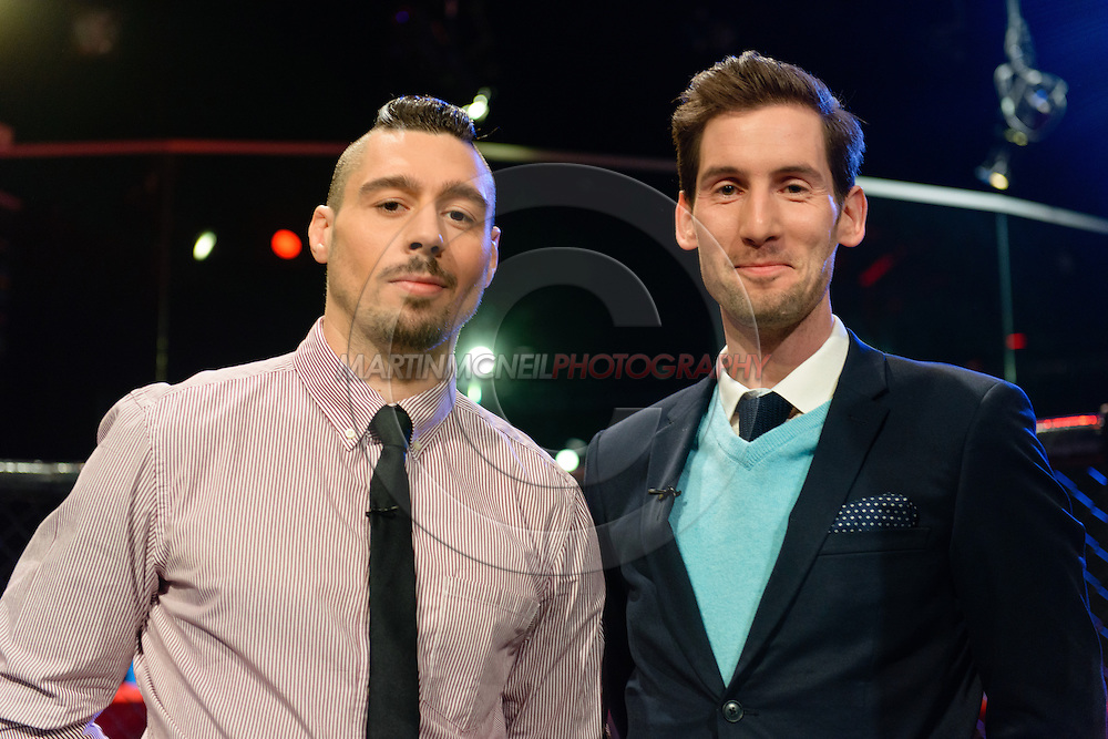 """LONDON, ENGLAND, March 4, 2014: Dan Hardy and John Gooden are pictured ahead of the broadcast of BT Sport's """"Beyond the Octagon"""" programme on Tuesday, March 4, 2014 © Martin McNeil for IPC Media"""
