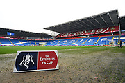 The Cardiff City Stadium with a The Emirates FA Cup branded board pitchside before the The FA Cup 4th round match between Cardiff City and Manchester City at the Cardiff City Stadium, Cardiff, Wales on 28 January 2018. Photo by Graham Hunt.