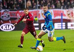 14.03.2019, Red Bull Arena, Salzburg, AUT, UEFA EL, FC Red Bull Salzburg vs SSC Napoli, Achtelfinale, Rückspiel, im Bild v.l. Stefan Lainer (FC Salzburg), Fabián Ruiz (SSC Napoli) // during the UEFA Europa League round of 16, 2nd leg match between FC Red Bull Salzburg and SSC Napoli at the Red Bull Arena in Salzburg, Austria on 2019/03/14. EXPA Pictures © 2019, PhotoCredit: EXPA/ Johann Groder