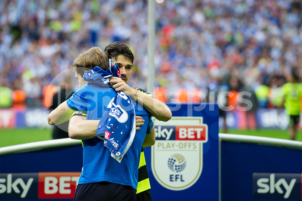 Christopher Schindler of Huddersfield Town celebrates the promotion during the EFL Sky Bet Championship Play-Off Final match between Huddersfield Town and Reading at Wembley Stadium, London, England on 29 May 2017. Photo by Salvio Calabrese.