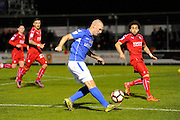 James Constable (9) of Eastleigh crosses the ball during the The FA Cup match between Eastleigh and Swindon Town at Arena Stadium, Eastleigh, United Kingdom on 4 November 2016. Photo by Graham Hunt.