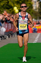 Roman Kejzar of Slovenia at the finish line of the 14th Marathon of Ljubljana, on October 25, 2009, in Ljubljana, Slovenia.  (Photo by Vid Ponikvar / Sportida)