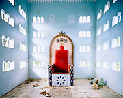 Throne, Australia, 2004.<br /> A children's fun park modelled on the Neuschwanstein castle in Bavaria lies abandoned. <br /> Wastelands is a journey into abandoned and transient spaces in Australia and Europe. Over a number of years I&rsquo;ve travelled with a large format camera to record some of the unusual ways that buildings decline, and the more unusual ways that space is reordered. <br /> <br /> A common practice is to transform abandoned industrial sites into modern centres of consumption. Old industrial centres often find new life as shopping centres. But family fun parks in abandoned nuclear power stations and the prospect of a European wilderness in Chernobyl reveal that landscape is never a finished project, nor what we always expect.<br /> <br /> Large format photography has had a long association with architecture and landscape. It expands detail and corrects perspective, often recording more than we can actually see, compelling us to look longer.