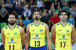 Mauricio Borges Almeida Silva of Brazil, Mauricio Souza of Brazil and Evandro M. Guerra of Brazil during friendly volleyball match between national teams of Slovenia and Brasil in Arena Stozice on 9. September 2015 in , Ljubljana, Slovenia. Photo by Matic Klansek Velej / Sportida