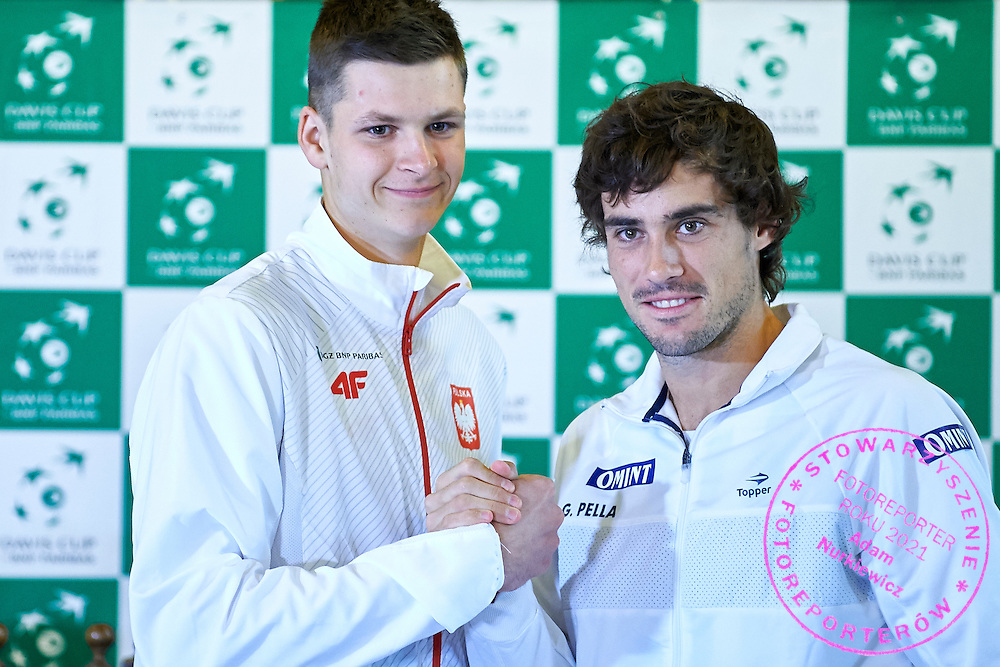 GDANSK, POLAND - 2016 MARCH 03: (L) Hubert Hurkacz of Poland and (R) Guido Pella of Argentina pose to the face off picture after official draw while press conference one day before the Davies Cup / World Group 1st round tennis match between Poland and Argentina at Ergo Arena on March 3, 2016 in Gdansk, Poland<br /> <br /> Picture also available in RAW (NEF) or TIFF format on special request.<br /> <br /> Any editorial, commercial or promotional use requires written permission.<br /> <br /> Mandatory credit:<br /> Photo by &copy; Adam Nurkiewicz / Mediasport