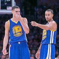16 November 2014: Golden State Warriors guard Klay Thompson (11) talks to Golden State Warriors guard Stephen Curry (30) during the Golden State Warriors 136-115 victory over the Los Angeles Lakers at the Staples Center, Los Angeles, California, USA.