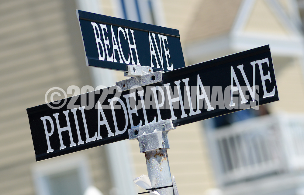 Street signs at the start of  the Independence Parade Saturday July 2, 2016 on Beach Avenue in Cape May, New Jersey. Photo by William Thomas Cain/Cain Images