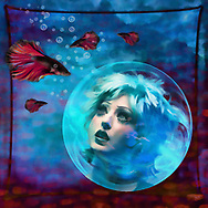 Colorful surreal image of a model's head caught in a bubble looking up at some fish against a red and blue background