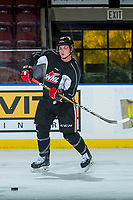 KELOWNA, CANADA - OCTOBER 20: Clay Hanus #58 of the Portland Winterhawks passes the puck during morning ice at the Kelowna Rockets on October 20, 2017 at Prospera Place in Kelowna, British Columbia, Canada.  (Photo by Marissa Baecker/Shoot the Breeze)  *** Local Caption ***