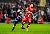 Fotball<br /> Frankrike<br /> 30.08.2014<br /> Foto: Panoramic/Digitalsport<br /> NORWAY ONLY<br /> <br /> Steeve Yago (tfc) vs Nicki Bille Nielsen (etg)<br /> Toulouse vs Evian - Ligue1