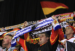 Fans of Germany  at ice-hockey match Finland vs Germany (they played in replika jerseys like they were in year 1932) at Preliminary Round (group C) of IIHF WC 2008 in Halifax, on May 03, 2008 in Metro Center, Halifax, Canada. (Photo by Vid Ponikvar / Sportal Images)Won of Finland 5:1.