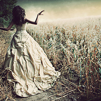 Young female alone walking away wearing a satin wedding dress outdoors in a field in summer