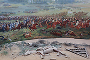 The 360 degree Panorma showing the Battle of Waterloo at the battlefield, on 25th March 2017, at Waterloo, Belgium. Inaugurated on the battle's bicentenary, visitors experience the history of Napoleonic Europe and the armies of both the French and allied armies on that day. The Battle of Waterloo was fought 18 June 1815. A French army under Napoleon Bonaparte was defeated by two of the armies of the Seventh Coalition: an Anglo-led Allied army under the command of the Duke of Wellington, and a Prussian army under the command of Gebhard Leberecht von Blücher, resulting in 41,000 casualties.