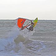 Wind surfing a Cornish sea