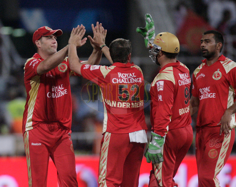 DURBAN, SOUTH AFRICA - 1 May 2009. Bangalore celebrate during the IPL Season 2 match between Kings X1 Punjab and the Royal Challengers Bangalore held at Sahara Stadium Kingsmead, Durban, South Africa...