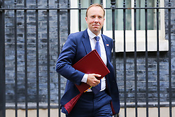 © Licensed to London News Pictures. 10/09/2019. London, UK. Secretary of State for Health and Social Care MATT HANCOCK departs from No 10 Downing Street after attending the weekly Cabinet Meeting. Photo credit: Dinendra Haria/LNP