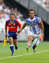 Samoa Full Back Tim Nanai-Williams chips on - Mandatory byline: Rogan Thomson/JMP - 07966 386802 - 29/08/2015 - RUGBY UNION - The Stadium at Queen Elizabeth Olympic Park - London, England - Barbarians v Samoa - International Friendly.