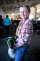 Farming in Oregon and Washington.  A young girl in braids holds her prize sheep before a 4H competition.