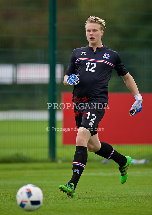 NEWPORT, WALES - Tuesday, September 6, 2016: Iceland's goalkeeper Dadi Freyr Arnasson in action against Wales during the International Friendly match at Dragon Park. (Pic by David Rawcliffe/Propaganda)