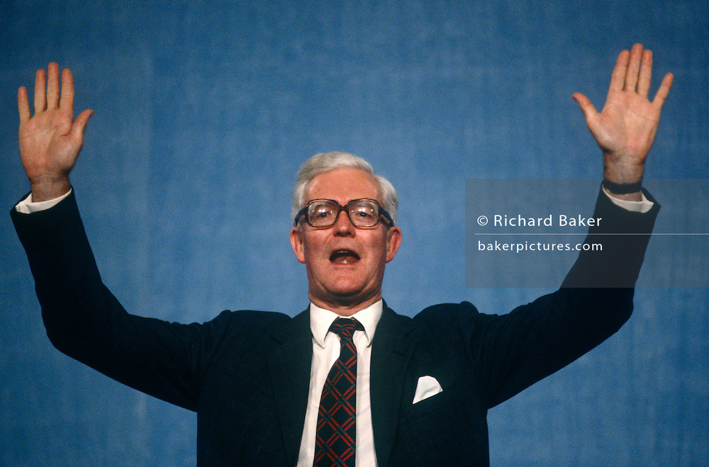 Foreign Secretary and Conservative MP, Douglas Hurd MP at the Conservative party conference on 11th October 1991 in Blackpool, England. Douglas Richard Hurd, Baron Hurd of Westwell, CH, CBE, PC (b1930) is a British Conservative politician who served in the governments of Margaret Thatcher and John Major from 1979 to 1995.