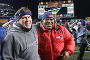 PITTSBURGH - JANUARY 23:  Head coach Bill Belichick (left) and defensive coordinator Romeo Crennel of the New England Patriots celebrate their win over the Pittsburgh Steelers in the AFC Championship game at Heinz Field on January 23, 2005 in Pittsburgh, Pennsylvania. The Pats defeated the Steelers 41-27. ©Paul Anthony Spinelli  *** Local Caption *** Bill Belichick; Romeo Crennel
