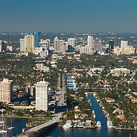 Aerial view of Fort Lauderdale and Las Olas Blvd looking west