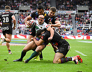 Danny Houghton  of Hull Football Club gets tackled by Zeb Taia Alex Walmsley and Mark Percival of Saint Helens during the Betfred Super League match on Magic Weekend at St. James's Park, Newcastle<br /> Picture by Melanie Allatt/Focus Images Ltd 07515 876011<br /> 20/05/2017