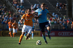 September 23, 2017 - East Hartford, Connecticut, U.S - New York City FC defender FREDERIC BRILLANT (13) defends the ball against Houston Dynamo forward MAURO MANOTAS (19) during a game at Pratt & Whitney Stadium at Rentschler Field, East Hartford, CT.  New York City FC draw with the Houston Dynamo 1 to 1 (Credit Image: © Mark Smith via ZUMA Wire)