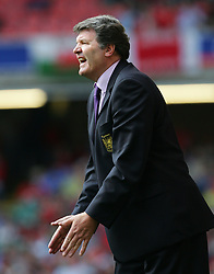 CARDIFF, WALES - SATURDAY MARCH 26th 2005: Wales' manager John Toshack urges his side on as they lose 2-0 to Austria during the Wold Cup Qualifying match at the Millennium Stadium. (Pic by David Rawcliffe/Propaganda)