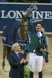Guerdat Steve, (SUI) winner of the Longines FEI World Cup™ Jumping Final, second place Peneloppe Leprevost (FRA) and third Bertram Allen, (IRL)<br /> receiving there prices from Steffie Graf, Ingmar Devos (President FEI) and Juan Carlos Capelli ( Vice president de Longines and manager of international afaires)<br /> Las Vegas 2015<br />  © Hippo Foto - Dirk Caremans<br /> Final III round 2 20/04/15