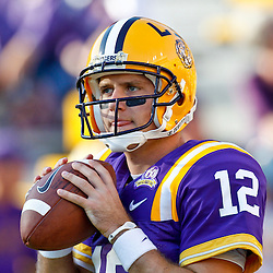 October 16, 2010; Baton Rouge, LA, USA; LSU Tigers quarterback Jarrett Lee (12) during warm ups prior to kickoff of a game against the McNeese State Cowboys at Tiger Stadium.  Mandatory Credit: Derick E. Hingle