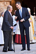 King Juan Carlos of Spain, King Felipe VI of Spain, Queen Sofia of Spain, Crown Princess Leonor leave the Cathedral of Palma de Mallorca after Easter Mass on April 1, 2018 in Palma de Mallorca, Spain