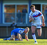 Scott Grix of Wakefield Trinity on the attack against  Halifax RLFC during the Pre-season Friendly match at Belle Vue, Wakefield<br /> Picture by Stephen Gaunt/Focus Images Ltd +447904 833202<br /> 07/01/2018