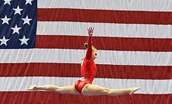 Aug 9, 2019; Kansas City, MO, USA; Jade Carey performs her beam routine during the 2019 U.S. Gymnastics Championships at Sprint Center. Mandatory Credit: Denny Medley-USA TODAY Sports