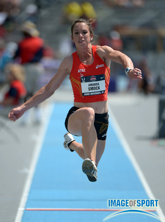 Jun 20, 2013; Des Moines, IA, USA; Amanda Smock places third in the womens triple jump in a wind-aided 45-2 1/4 (13.77m) in the 2013 USA Championships at Drake Stadium.